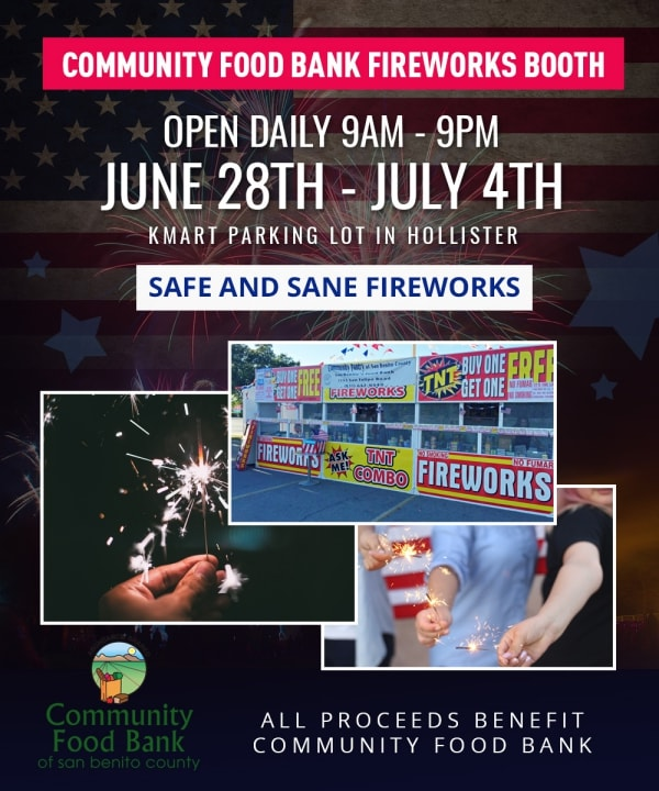 Community Food Bank best fireworks booth in Hollister, California