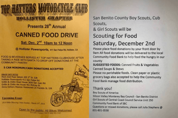 Top Hatters and Boy Scouts food drives for food bank of San Benito County