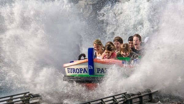 Children on water ride at amusement park