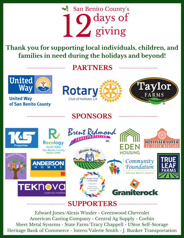 12 Days of Giving flyer 2019