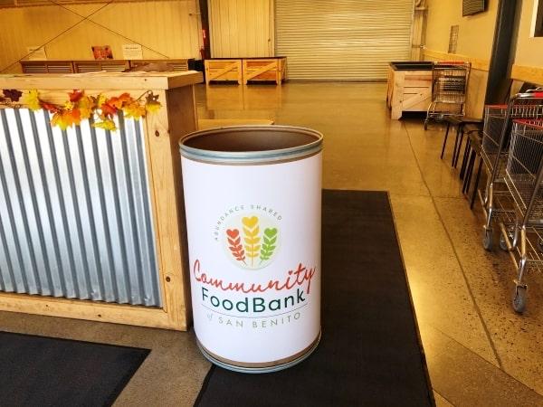 Food donation barrel for Food bank of San Benito County